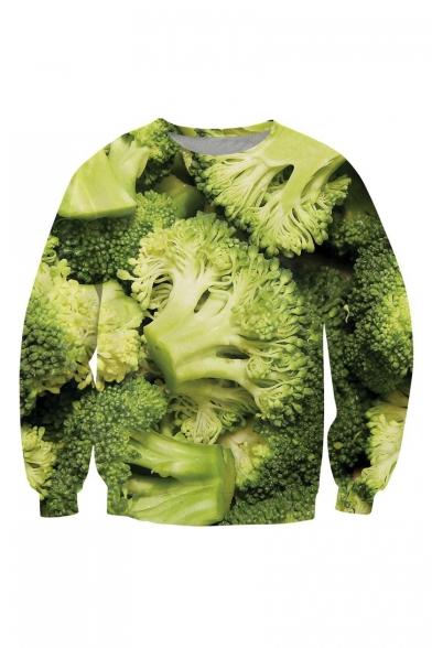 Funny 3D Broccoli Printed Long Sleeve Crewneck Green Pullover Sweatshirt