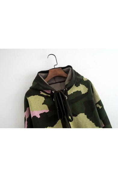 Lace Up Front Camouflage Long Sleeve Knit Hoodie