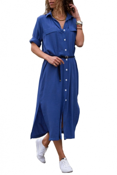 Lapel Collar Long Sleeve Plain Split Side Button Front Maxi Shirt Dress