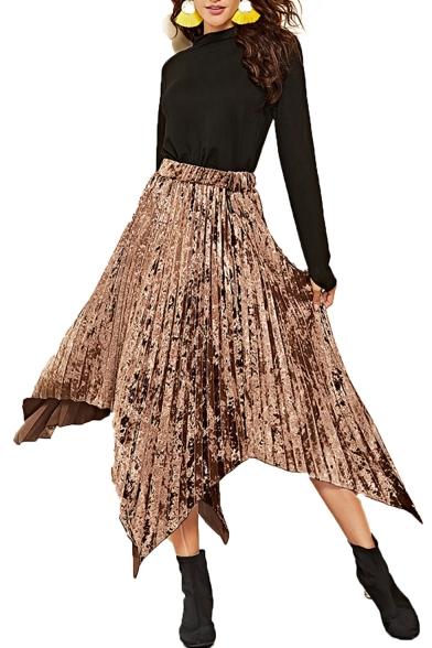 Купить со скидкой Metal Color Elastic Waist Pleated Maxi Asymmetrical Skirt