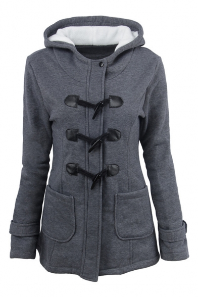 Popular Long Sleeve Plain Button Front Hooded Tunic Coat