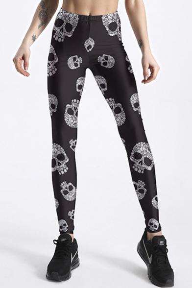 Skull All Over Print Elastic Waist Skinny Yoga Leggings