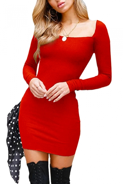 Square Neck Long Sleeve Plain Mini Bodycon Dress