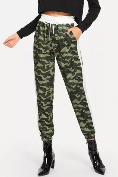 Contrast Drawstring Waist Camouflage Slim Casual Pants