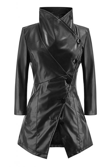 Lapel Collar Offset Button Closure 3/4 Length Sleeve Slim Leather Coat