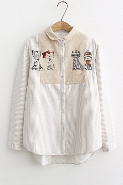Lovely Cat Embroidered Contrast Patchwork Lapel Collar Button Front Long Sleeve Striped Shirt