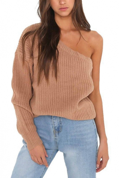 Baycheer / One Shoulder Plain Long Sleeve Pullover Knit Sweater