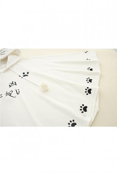 Pom Pom Embellished Japanese Paw Print Long Sleeve Loose Hooded Cape