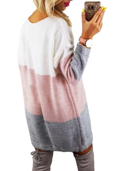 Round Neck Color Block Long Sleeve Drawstring Hem Mini A-Line Dress