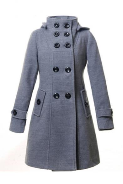 Slim Double Breasted Long Sleeve Plain Hooded Woolen Coat