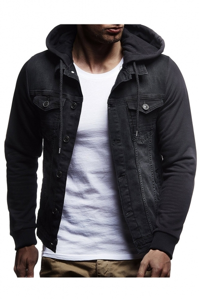 Street Style Men's Long Sleeve Casual Leisure Hooded Denim Jacket