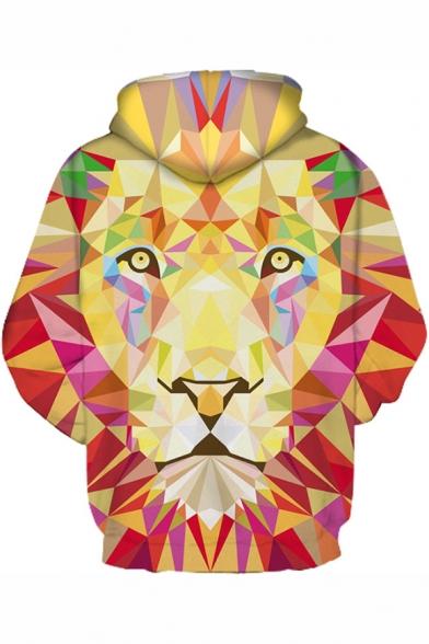 Unisex Drawstring Hood Geometric Lion Pattern Long Sleeve Hoodie