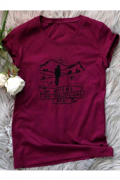 GO WHERE Letter Mountain Print Round Neck Short Sleeve T-Shirt