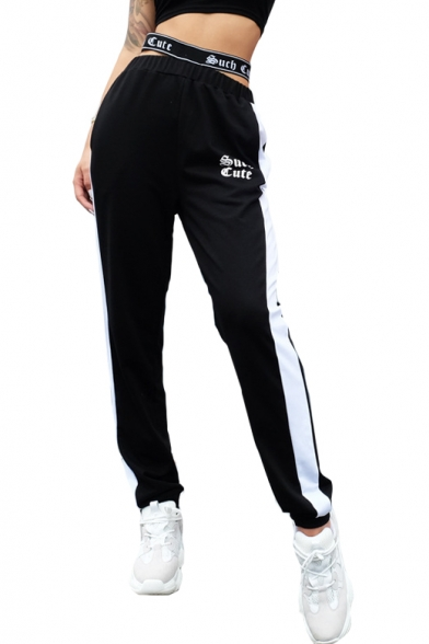 Купить со скидкой Letter Rib Knit Waistband Hollow Out Contrast Striped Side Leisure Sports Pants
