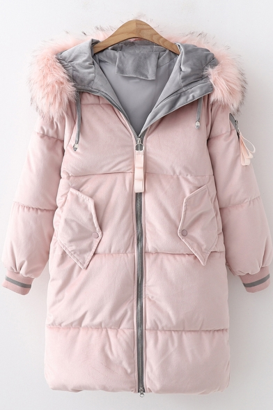 Long Sleeve Zip Closure Faux Fur Hood Trim Padded Hooded Coat