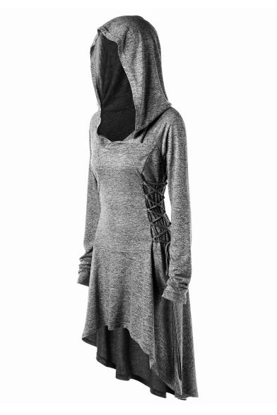 Plain Long Sleeve Lace Up Side Midi Asymmetric Hooded Dress