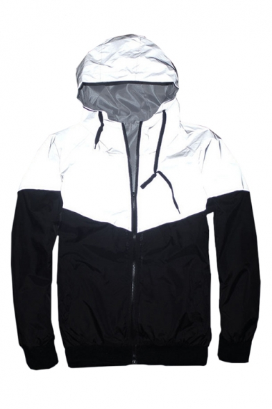 Image of 3M Reflective Patchwork Long Sleeve Zip Up Hooded Track Jacket