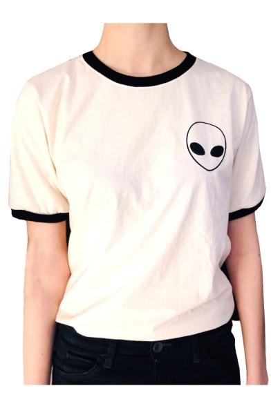 Contrast Trim Alien Pattern Round Neck Short Sleeve T-Shirt