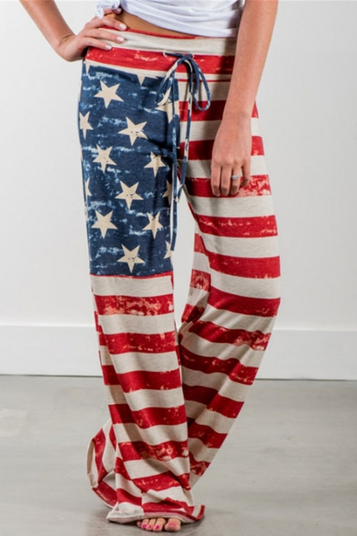 Drawstring Waist American Flag Print Loose Soft Pants