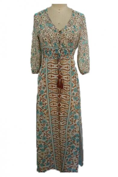Peasant Floral Print V Neck Long Sleeve Maxi A-Line Dress