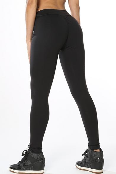 Plain Elastic Waist Skinny Basic Yoga Sports Leggings