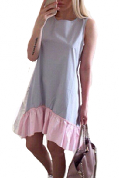 Round Neck Sleeveless Contrast Patch Hem Midi Tank Dress