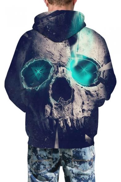 3D Geometric Skull Print Long Sleeve Causal Hoodie