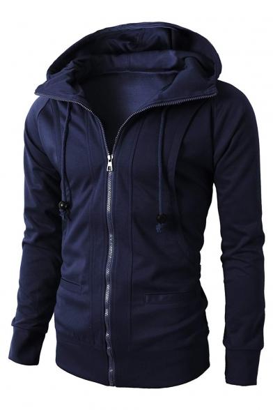 Casual Plain Panelled Raglan Sleeve Zip Up Hoodie