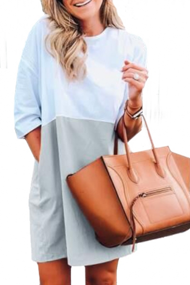 Color Block Round Neck 3/4 Length Sleeve Mini T-Shirt Dress