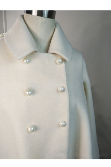 Double Breasted Lapel Collar Long Sleeve Plain Loose Cape Coat