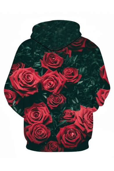 Fashion Fancy 3D Rose Pattern Long Sleeve Unisex Hoodie with Pockets