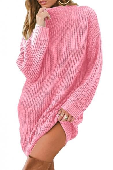 Mock Neck Long Sleeve Plain Loose Tunic Sweater