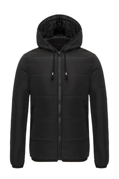 Plain Long Sleeve Drawstring Hood Zip Up Hooded Padded Jacket