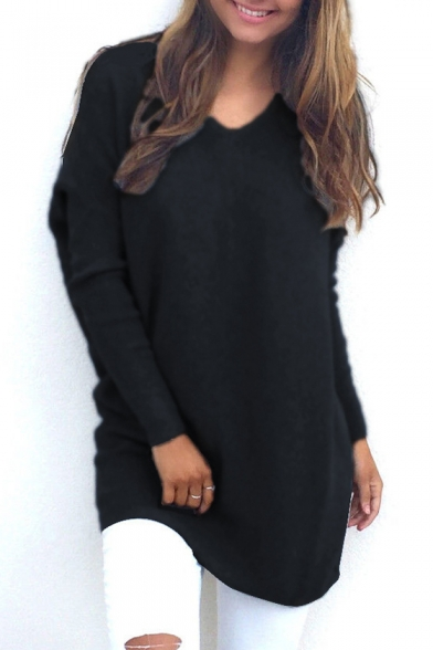 V Neck Long Sleeve Plain Loose Tunic Sweater