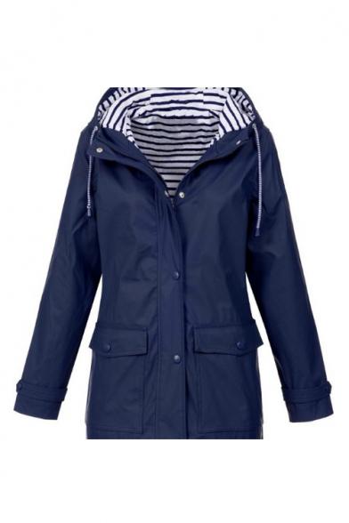 Waterproof Long Sleeve Plain Zip Closure Hooded Mountain Jacket