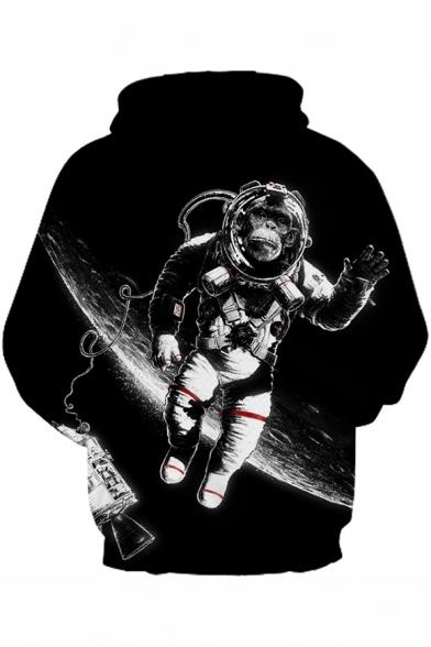 Astronaut Orangutan Print Long Sleeve Loose Hoodie