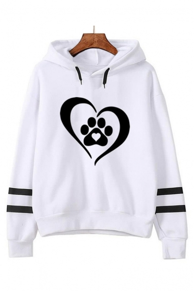 Heart Paw Print Contrast Striped Long Sleeve Casual Hoodie