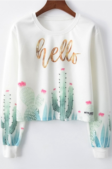 5cbd53182 HELLO Letter Cactus Print Round Neck Long Sleeve Sweatshirt -  Beautifulhalo.com
