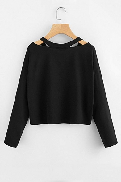 Hollow Out V Neck Long Sleeve Planet Print Cropped Tee