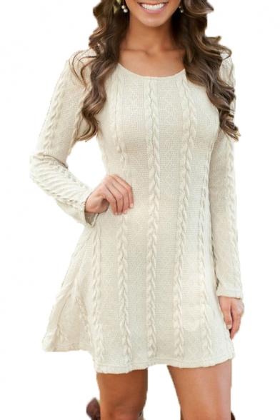 Plain Twist Detail Round Neck Long Sleeve Mini Sweater Dress