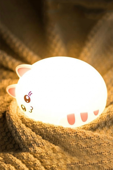Lovely 7 Color Tap Control Night Light Silicone Cat Lamp