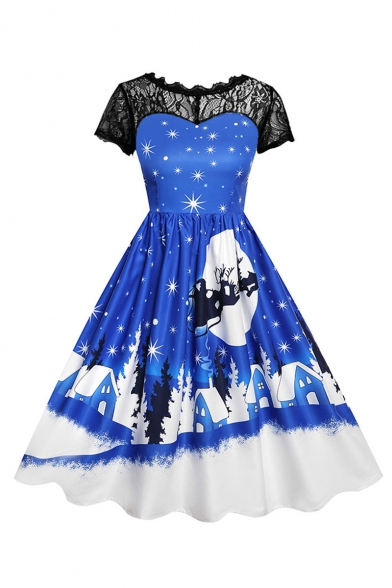 Retro Lace Patchwork Christmas Series Print Short Sleeve Midi Flare Dress