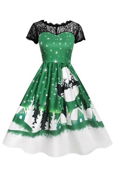 Retro Lace Patchwork Christmas Series Print Short Sleeve Midi Flare Dress