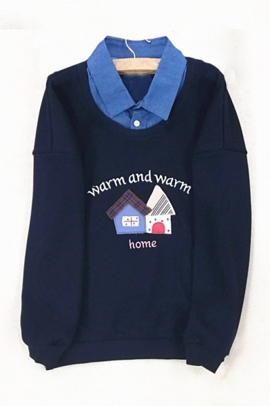 WARM AND WARM Letter House Embroidered Contrast Lapel Collar Long Sleeve Sweatshirt
