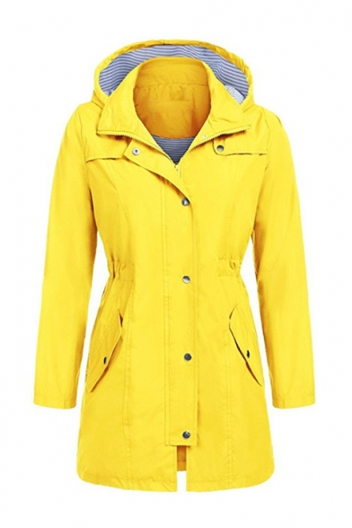 Casual Water proof Plain Long Sleeve Hooded Jacket for Woman