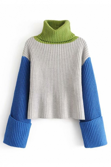 Baycheer / Collar Block High Collar Long Sleeve Ribbed Sweater