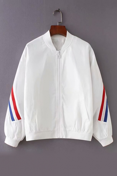 Contrast Striped Trim Patch Stand Collar Long Sleeve Zip Up Baseball Jacket