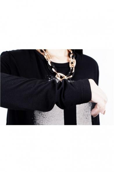 Cross Print Round Neck Long Sleeve Chiffon Patch Split Back Mini Asymmetric Dress