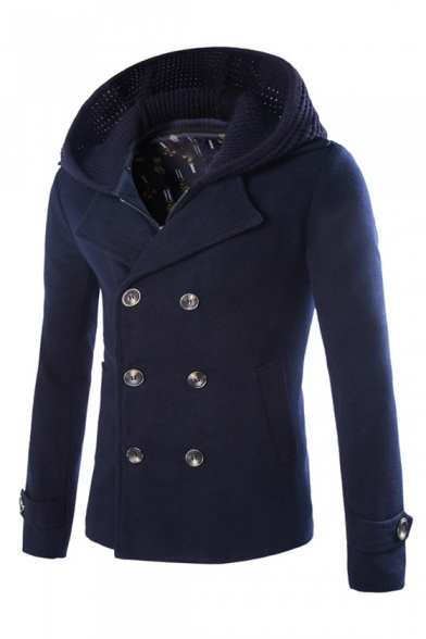 Double Breasted Long Sleeve Plain Hooded Jacket with Knit Hood