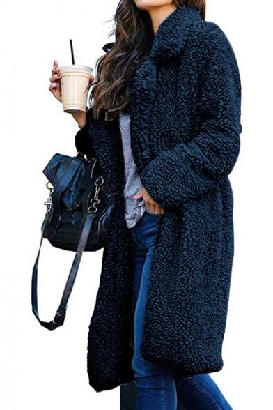 Notched Lapel Collar Long Sleeve Plain Faux Fur Coat